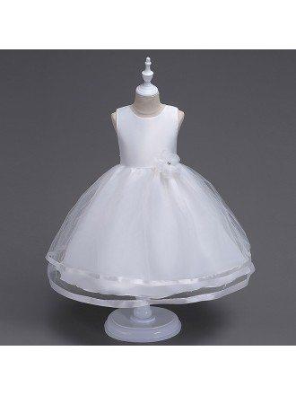 Princess Simple White Flower Girl Dress for Little Girls