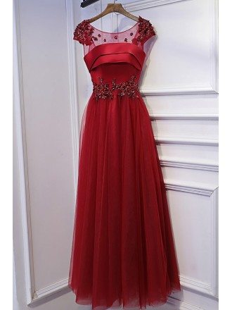 Burgundy Sequined Cap Sleeves Long Prom Party Dress With Tulle
