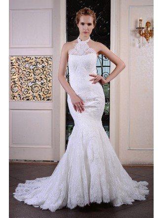 Mermaid Halter chapel Train Lace Wedding Dress With Ruffles