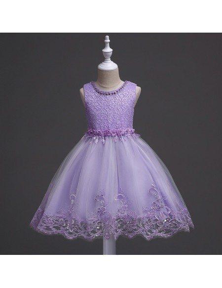 Princess Lavender Lace Flower Girl Dress Short for Teen Girls