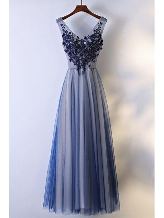 Unique Navy Blue Long Tulle Prom Dress V-neck Sleeveless