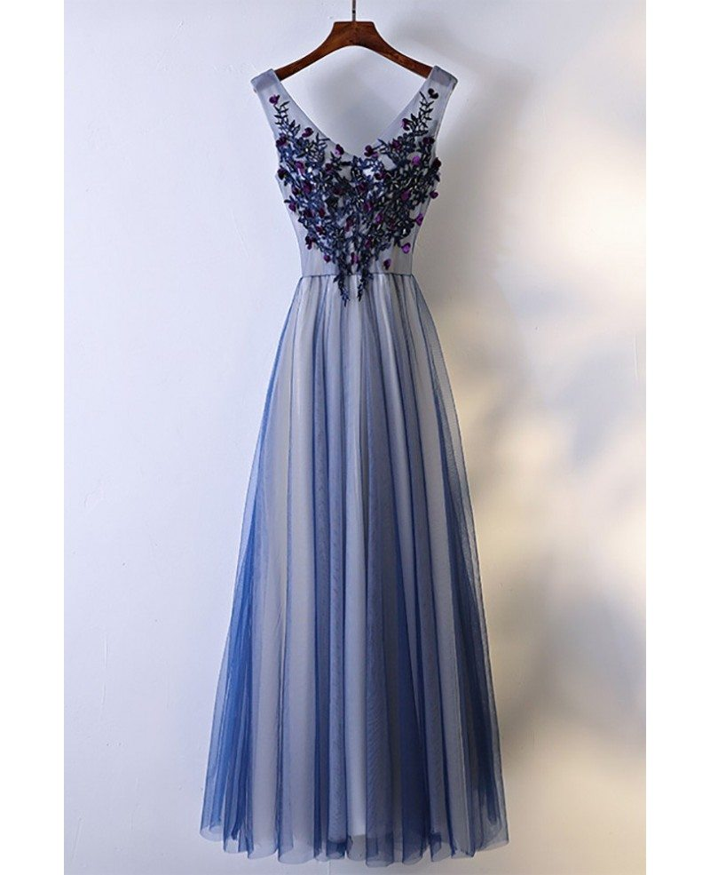 Unique Navy Blue Long Tulle Prom Dress V Neck Sleeveless Myx18056 Gemgracecom