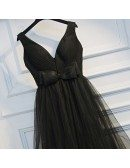 Super Cute Long Black Prom Dress V-neck With Tiered Tulle