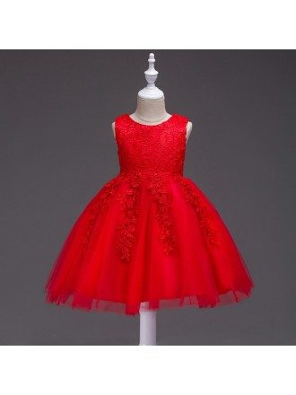 Princess Red Lace Flower Girl Dress for Toddler Girls