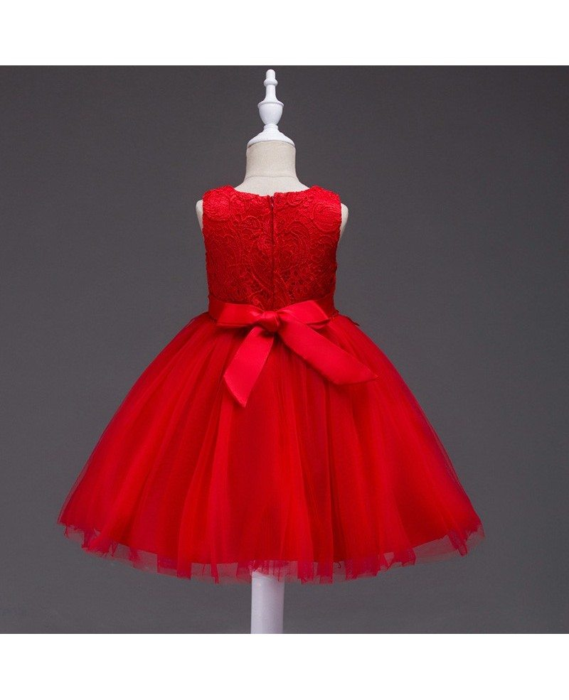 Red Lace Flower Girl Dress