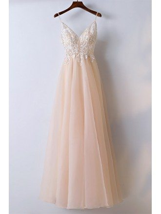 Boho Champagne Lace Long Prom Dress With Spaghetti Straps