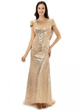 Sheath Scoop Cap-sleeves Floor-length Prom Dress