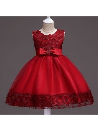 Burgundy Short Flower Girl Dress With Floral Hem for Wedding
