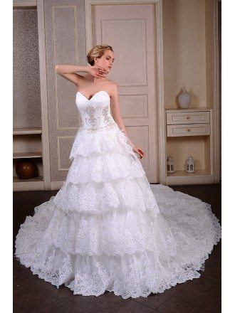 Ball-Gown Sweetheart Court Train Lace Wedding Dress With Beading