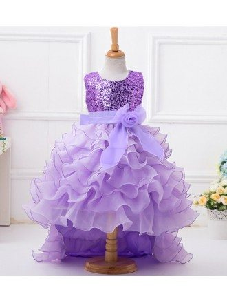 Lavender Tiered High Low Flower Girl Dress With Sequined Bodice