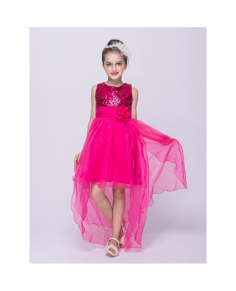 $36.9, Lime Green High Low Tulle Flower Girl Dress With