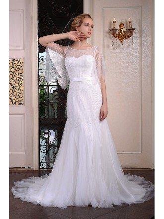 Mermaid Scoop Neck Court Train Organza Wedding Dress With Beading