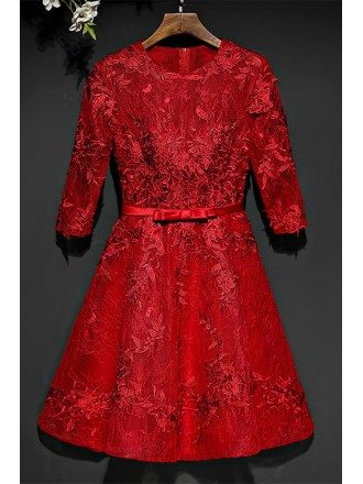 Short Red Lace A Line Party Dress Short With 3/4 Sleeves