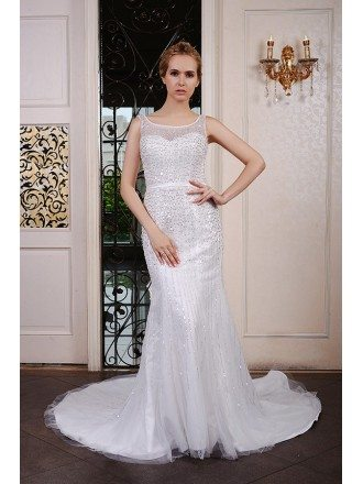 Mermaid Scoop Neck Court Train Tulle Wedding Dress With Beading