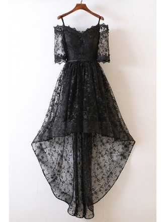 Unique Black High Low Prom Dress Lace With Off Shoulder For Teens