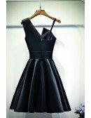 Little Black Chic Short Satin Cocktail Party Dress A Line