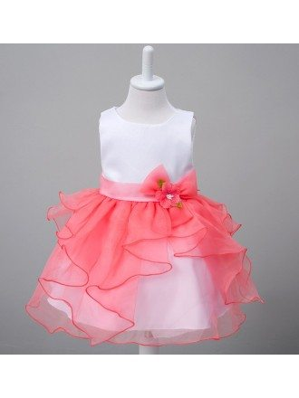 Satin Organza Toddler Flower Girl Dress With Sash for Baby