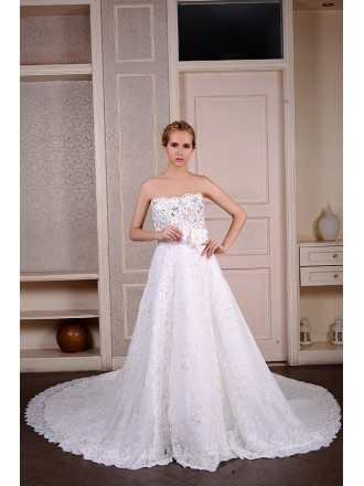 Ball-Gown Strapless Cathedral Train Lace Wedding Dress With Beading Flowers
