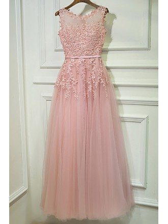 Gorgeous Pink Tulle Prom Dress Long With Lace Sleeveless