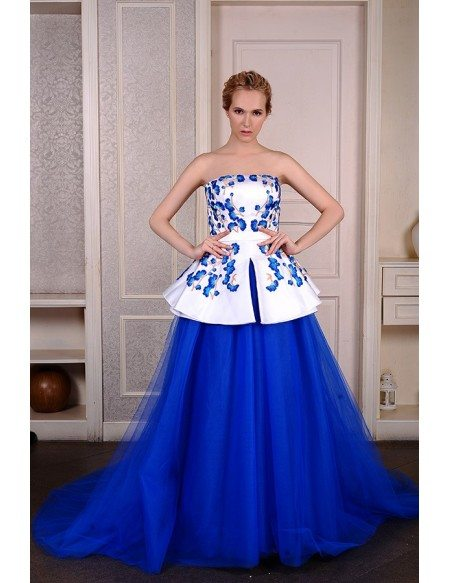 Ball-Gown Strapless chapel Train Satin Tulle Wedding Dress With Appliquer Lace