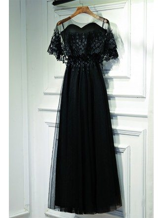 Classy Long Black Lace Formal Dress With Butterfly Sleeves