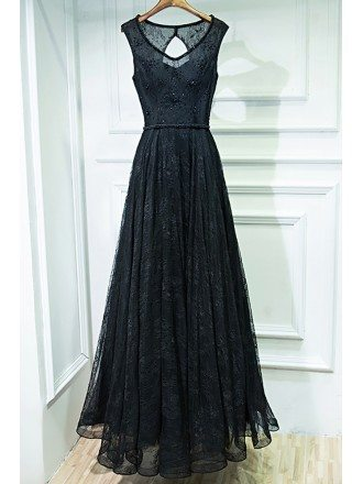 Formal Long Black Lace Cheap Prom Dress Sleeveless