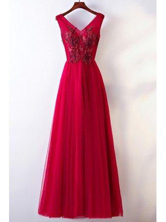 Sleeveless V-neck Long Burgundy Party Dress For Formal
