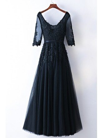 Modest Long Lace Black Prom Party Dress For Less