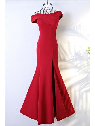 Unique Asymmetrical Sleeve Long Burgundy Formal Dress Mermaid