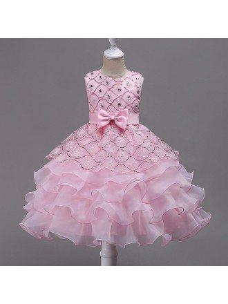 Sleeveless Girls Wedding Party Dress Flower Girl Dress With Bling