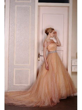 Ball-Gown Off-the-Shoulder Court Train Tulle Wedding Dress With Beading Sequins