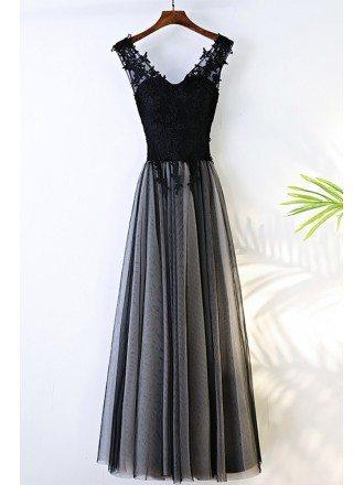 Formal Long Black V-neck Cheap Prom Dress Sleeveless