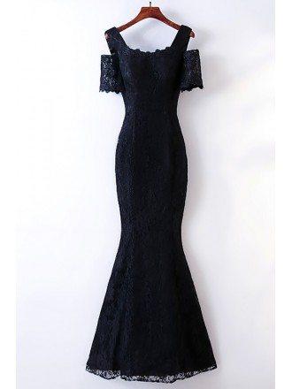 Elegant Long Black Lace Mermaid Prom Dress Cold Shoulder