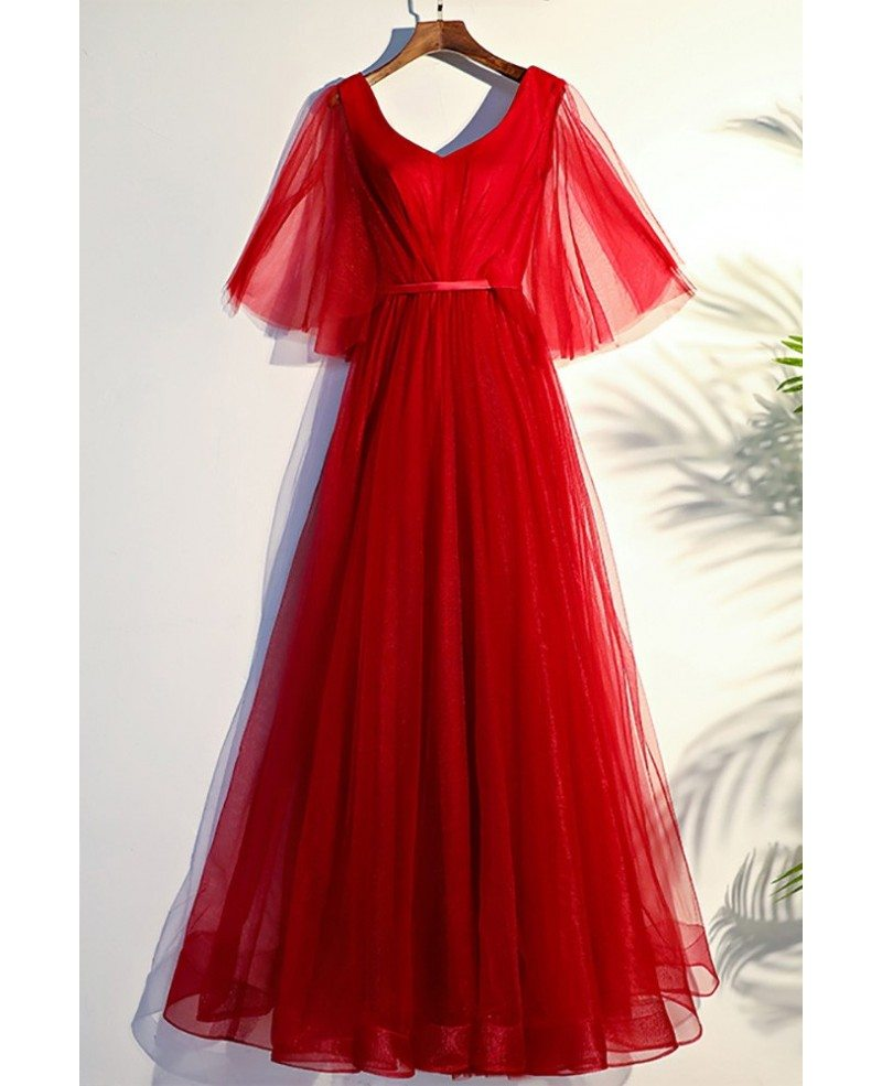 united states hot sale exclusive deals Flowy Red Butterfly Sleeves Long Formal Party Dress #MYX18190 ...