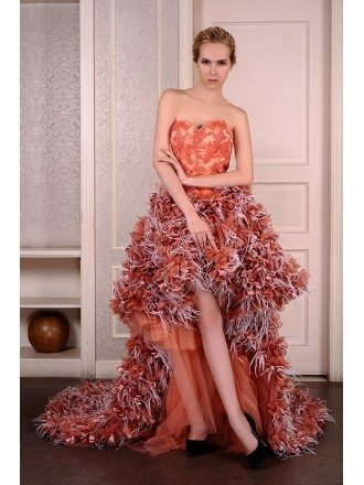 A-Line Sweetheart Asymmetrical Tulle Wedding Dress With Beading Lace Appliquer Cascading Ruffles