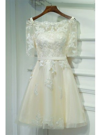 Champagne Lace Off Shoulder Short Party Dress For Weddings
