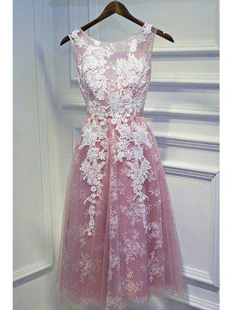 Cute White And Pink Lace Short Homecoming Party Dress Sleeveless