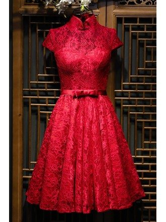 Chinese Burgundy Qipao Style Short Reception Party Dress With Sleeves