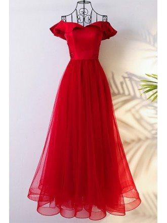 Lovely Red Off The Shoulder Bridal Party Formal Dress Long