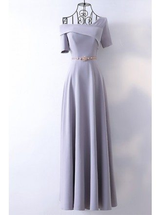 Classy Long Grey Formal Evening Dress With Asymmetrical Sleeves
