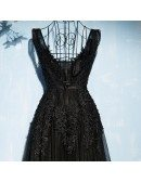 Classic Long Black Lace Tulle Prom Dress V-neck Sleeveless