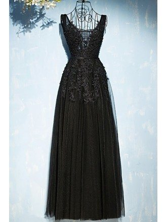 Classic Long Black Lace Tulle Prom Dress V-neck Sleeveless