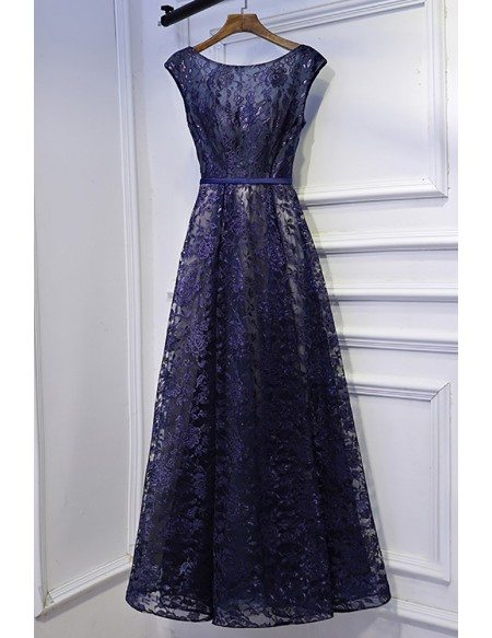 Modest Navy Blue Cap Sleeve Long Formal Dress Lace