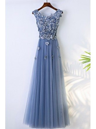 Trendy Dusty Blue Flowy Prom Dress Long With Flower Petals