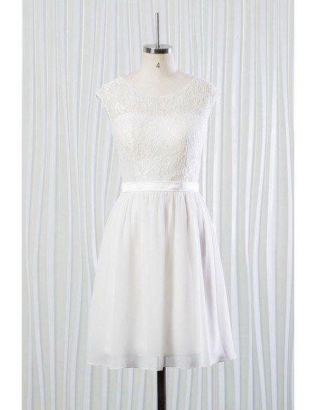 Simple Short Chiffon Lace Bridal Dress for Summer Beach Wedding