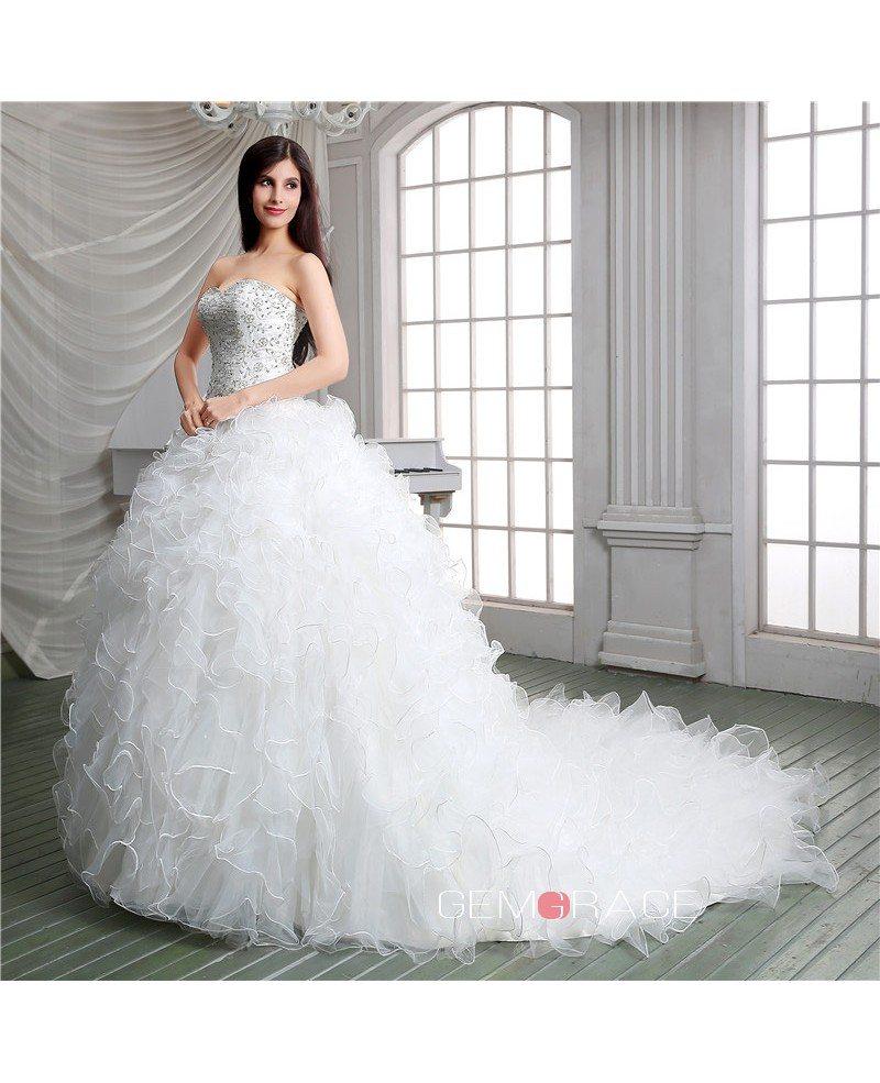 Ball-gown Sweetheart Chapel Train Wedding Dress #C55114