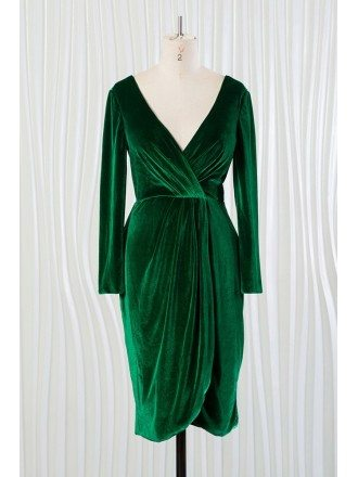 Dark Green Deep V Short Velvet Dress With Long Sleeves