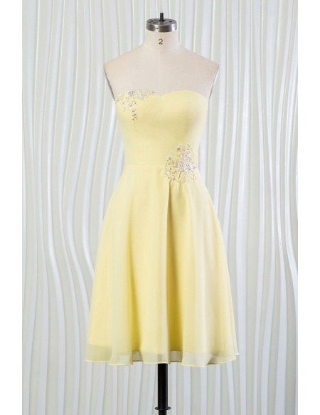Simple Yellow Summer Bridesmaid Dress