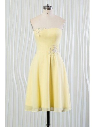 Simple Yellow Summer Bridesmaid Dress With Beading Strapless Short