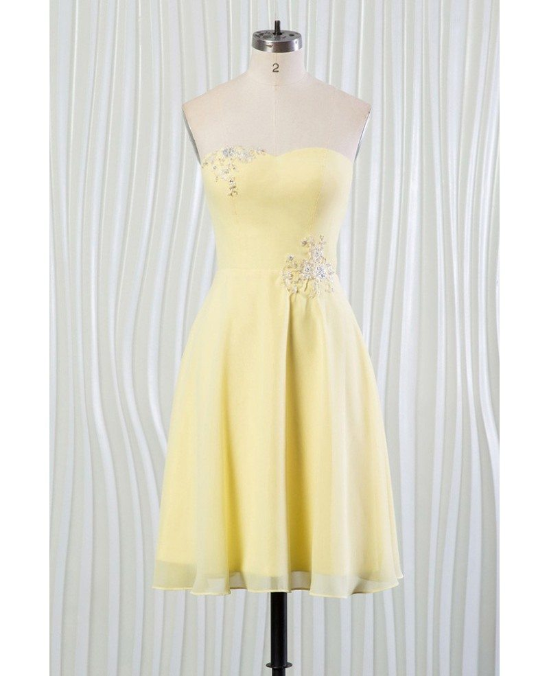 short strapless yellow bridesmaid dresses